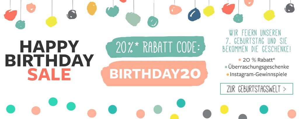 20 % Geburtstagsrabatt 2020 - jetzt shoppen & sparen