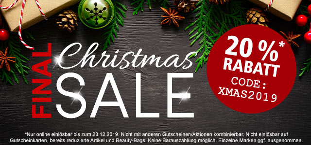 Final Christmas-SALE: 20 % Rabatt!