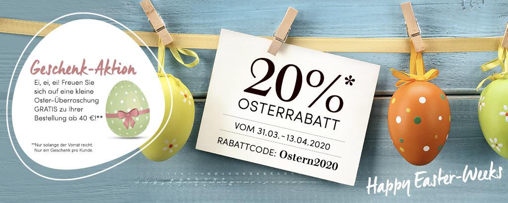 20 % Oster-Rabatt - Code: OSTERN2020 - jetzt shoppen & sparen