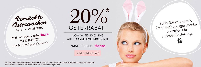 Verrückte Osterwochen: 20 % Rabatt auf Haarpflege - jetzt shoppen