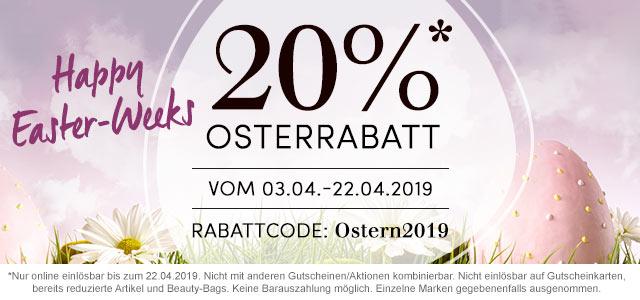 Happy Easter Weeks - 20 % Rabatt & Oster-Überraschung - jetzt shoppen