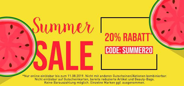 Summer Sale 20% Rabatt - SUMMER20 - jetzt shoppen
