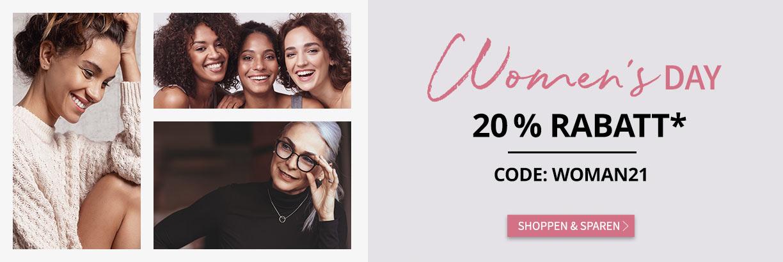Weltfrauentag: 20% Rabatt mit dem Code Woman21 - jetzt entdecken