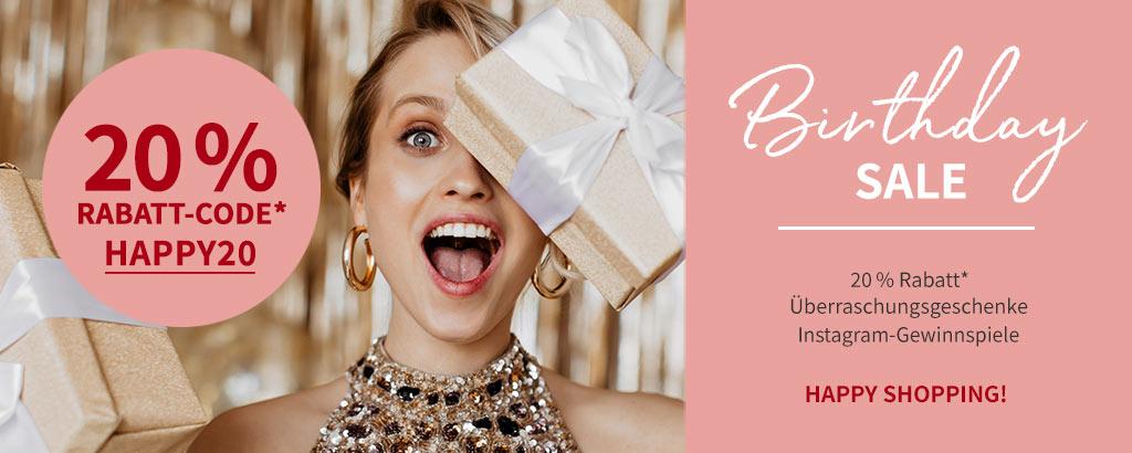 Happy Birthday Sale: 20 % Rabatt mit dem Code HAPPY20 - jetzt shoppen
